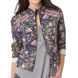 Free People Meadow Quilted Floral Jacket Zip Up